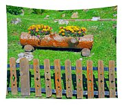 Flowers In Wooden Pot Tapestry