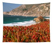 Flowers On The Coast, Big Sur Tapestry