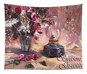Flowers With Lantern Christmas Card Tapestry