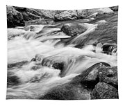 Flowing St Vrain Creek Black And White Tapestry