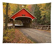 Flume Gorge Covered Bridge Fall Colors Tapestry