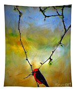 Fly Catcher In Heart Shaped Branch Tapestry