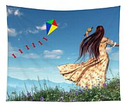Flying A Kite Tapestry
