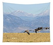 Flying Canadian Geese Rocky Mountains Panorama 2 Tapestry
