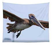 Flying Pelican Panorama Tapestry
