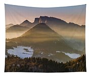 Fog Covered Mountains At Sunset Tapestry