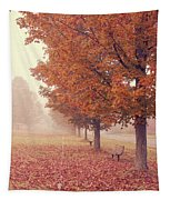 Foggy Autumn Morning Etna New Hampshire Tapestry