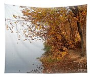 Foggy Autumn Riverbank Tapestry