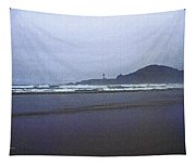 Foggy Beach And Lighthouse Tapestry