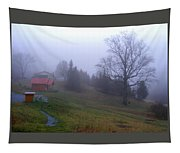 Foggy Cabin And Hillside Tapestry