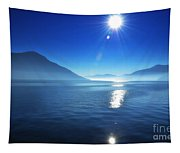 Foggy Lake With Sun Tapestry