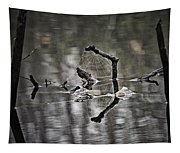 Foggy Morning Pondscape Tapestry