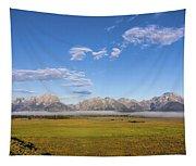 Foggy Sunrise On The Tetons - Grand Teton National Park Wyoming Tapestry