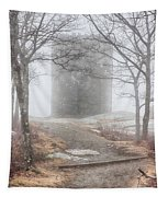 Foggy View Of The Summit Of Mount Battie Tapestry