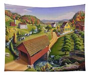 Folk Art Covered Bridge Appalachian Country Farm Summer Landscape - Appalachia - Rural Americana Tapestry