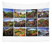 Folk Art Seasonal Seasons Sampler Greetings Rural Country Farm Collection Farms Landscape Scene Tapestry