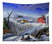 Folk Art Winter Landscape Tapestry