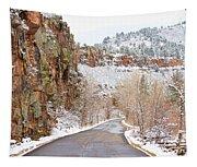 Follow The Red Rock Ridge Winter Road  Tapestry
