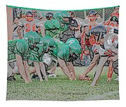 Football Playing Hard 3 Panel Composite Digital Art 01 Tapestry
