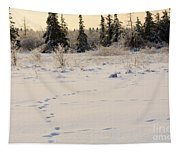 Footprints In Fresh Snow Tapestry