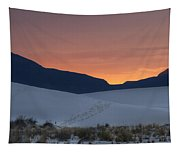 Footsteps In White Sands Leading To Sunset Tapestry
