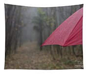 Forest With A Red Umbrella Tapestry