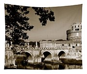 Fortress And Bridge In Sepia Tapestry