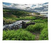 Fossa Waterfall In Hvalfjordur, Iceland Tapestry