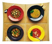 Four Dishes Of Different Food Tapestry