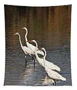 Four Egrets Fishing Tapestry
