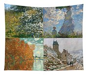 Four Seasons A Collage Of Monets Tapestry