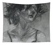 Gathering Strength - Original Charcoal Drawing - Contemporary Impressionist Art Tapestry