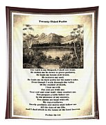 Framed Vintage 23rd Psalm Sepia Tapestry