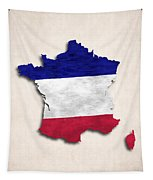 France Map Art With Flag Design Tapestry