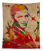 Frank Sinatra Watercolor Portrait On Worn Distressed Canvas Tapestry