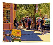 French Bread On Laurier Street Montreal Cafe Scene Sunny Corner With Vente De Garage Sign Tapestry