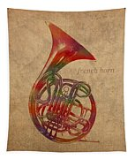 French Horn Brass Instrument Watercolor Portrait On Worn Canvas Tapestry