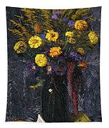 French Marigold Purple Daisies And Golden Sheaves Tapestry