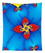 Fresh Orange Red And Blue Abstract Fractal Art Tapestry