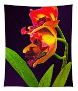 Frilly  Red And Yellow Orchids Tapestry