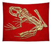 Frog Skeleton In Gold On Red  Tapestry