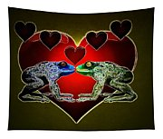 Frogs In Love Tapestry