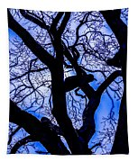 Frosty Blue Abstract Tapestry