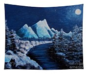 Frosty Night In The Mountains Tapestry