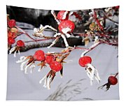 Frosty Rosehips Tapestry