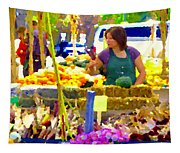 Fruit And Vegetable Vendor Roadside Food Stall Bazaars Grocery Market Scenes Carole Spandau Tapestry