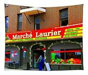 Fruiterie Marche Laurier Butcher Boulangerie De Pain Produits Quebec Market Scenes Carole Spandau  Tapestry