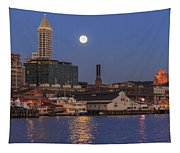 Full Moon Over Pioneer Square Tapestry
