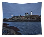 Full Moon Rise Over Nubble Tapestry
