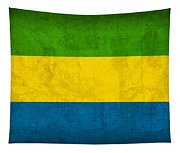 Gabon Flag Vintage Distressed Finish Tapestry